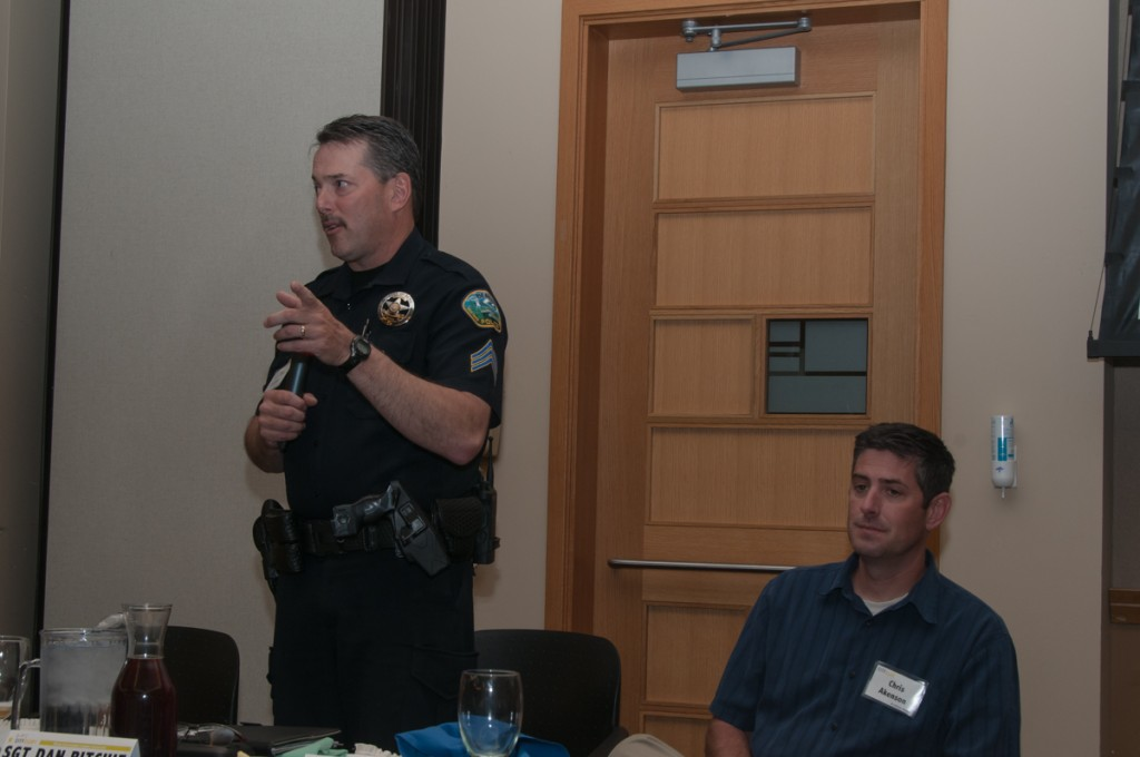 Sgt. Dan Ritchie of the Bend Police Department, left, and Chris Akenson of Redhawk Security Solutions, two of the panelists at City Club of Central Oregon's recent forum on Internet security.