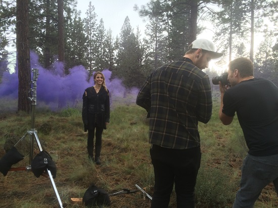 "Katie Michels on the set of ""Purple Fog."""