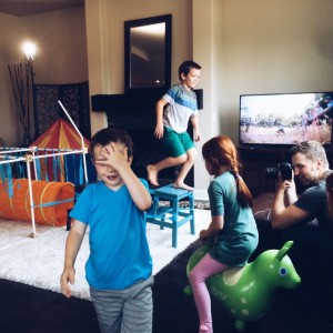 "Trevor McCreery, at right, shoots the ""Obstacle Course"" scene for the Gather Around commercial."