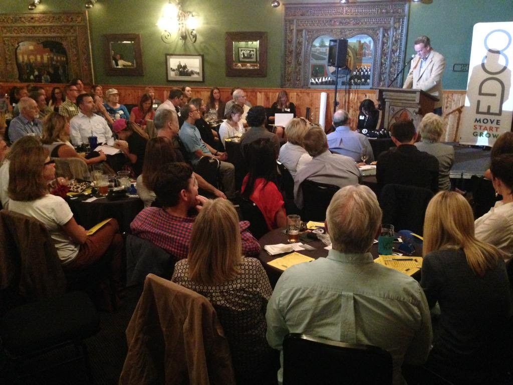The crowd at last year's PubTalk at McMenamins Old St. Francis School.